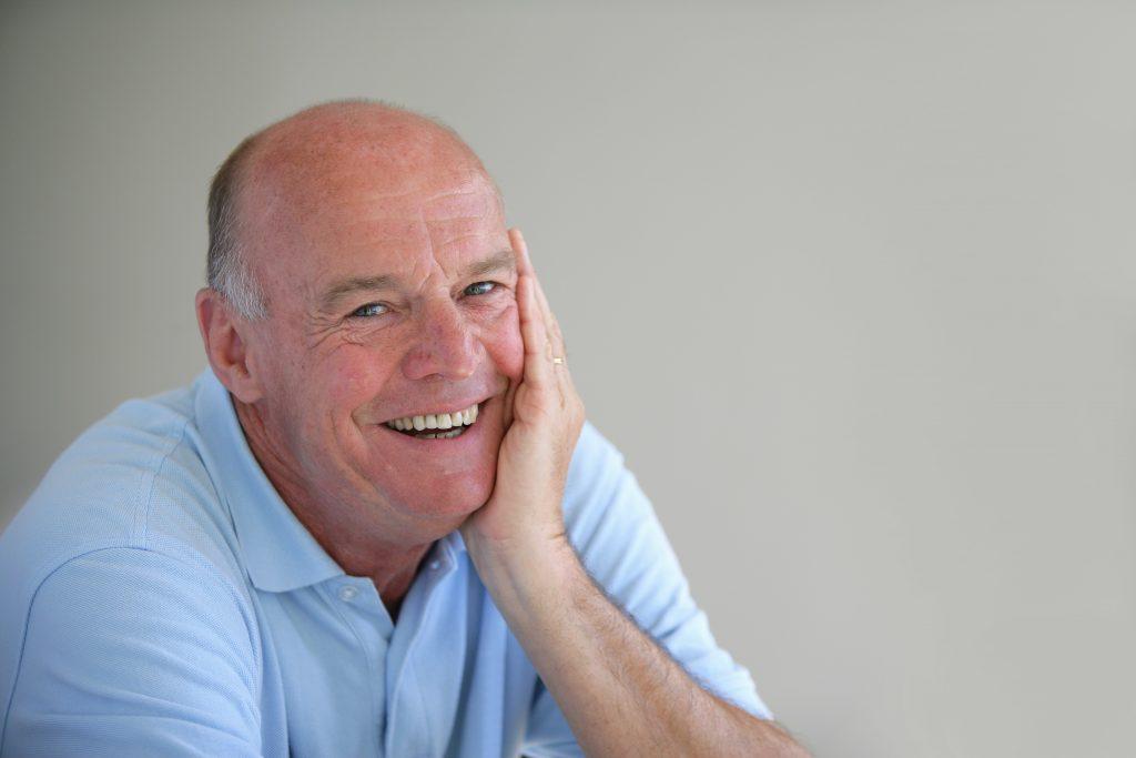 older man smiling nice teeth